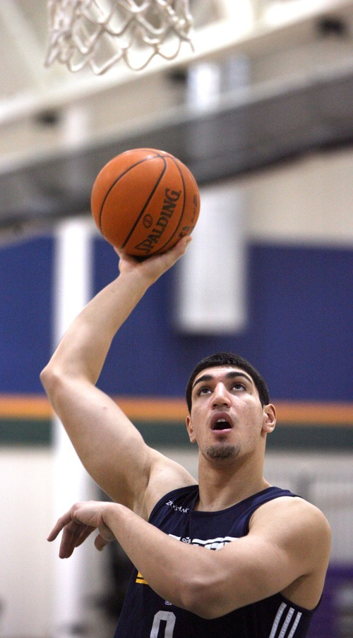 Steve Griffin  |  The Salt Lake Tribune  Enes Kanter  warms up prior to practice at the Jazz practice facility  in Salt Lake City, Utah Monday, December 12, 2011.