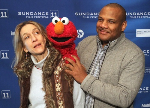 Rick Egan      The Salt Lake Tribune  Director Constance Marks, with puppeteer Kevin Clash and Elmo, in Park City for the Sundance Film Festival screening of