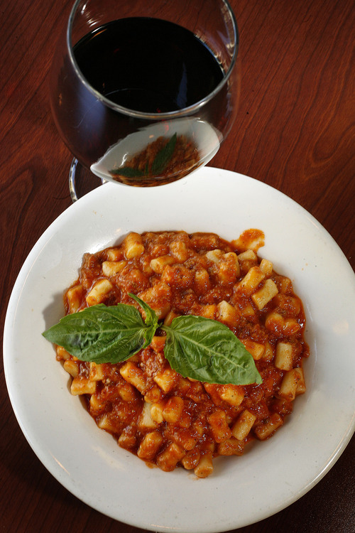 Scott Sommerdorf  |  The Salt Lake Tribune              The gnocchi bolognese at Michelangelo Ristorante, at its new Main Street location, inside the Kearns building in Salt Lake City.