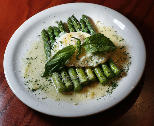 Scott Sommerdorf  |  The Salt Lake Tribune              Grilled truffle asparagus at Michelangelo Ristorante's new Main Street location in Salt Lake City.