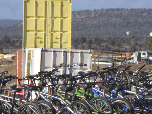 Mark Havnes  |  The Salt Lake Tribune Bikes are lined up in a lot in Hildale on State Route 9 as part of a