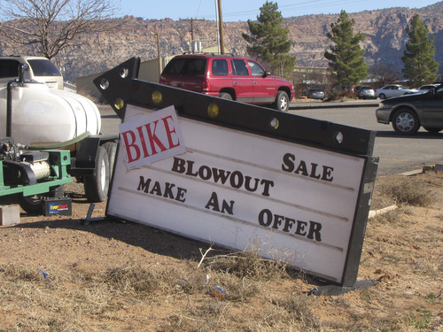Mark Havnes  |  The Salt Lake Tribune A sign on State Route 9 in Hildale advertises a bike sale. Starting this year, FLDS members have been required to hand over all their possessions to leadership, and are given back only what the bishop deems necessary, said Willie Jessop, former church spokesman and current supporter of a rival sect prophet. Bikes, trampolines and all-terrain vehicles, once-common sights in the FLDS home base of Colorado City, Ariz., and Hildale, Utah, can be seen for sale on the side of the highway.