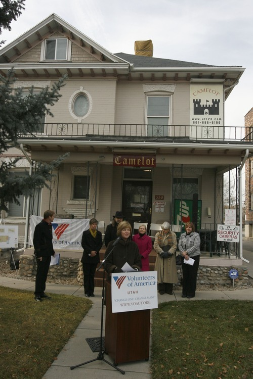 Rick Egan  | The Salt Lake Tribune   Volunteers of America of Utah president and CEO Kathy Bray speaks Thursday, Dec. 15, 2011, in front of the home that will provide transitional housing for 14 homeless young men, ages 18-24.