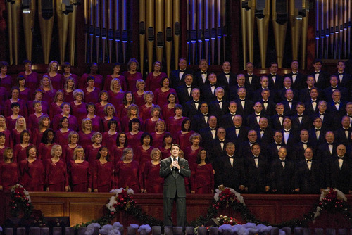 Paul Fraughton | The Salt Lake Tribune Guest star Nathan Gunn performs with the choir at The Mormon Tabernacle Choir's Christmas extravaganza  at the LDS Conference Center.   Thursday, December 15, 2011