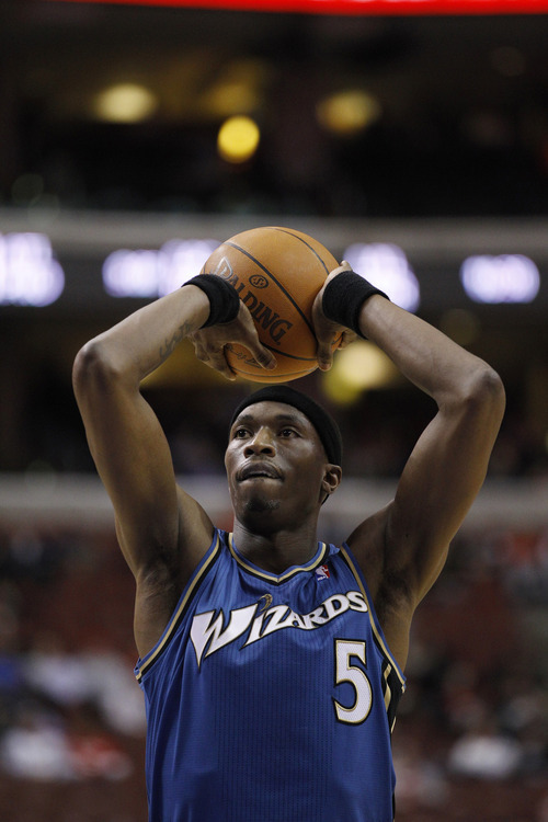 Josh Howard, who used to play for the Washington Wizards, is shown during an NBA basketball game against the Philadelphia 76ers Feb. 23, 2011, in Philadelphia. (AP file photo/Matt Slocum)