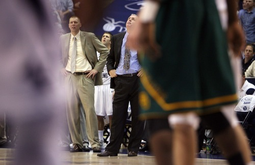 Steve Griffin     The Salt Lake Tribune  BYU head coach Dave Rose looks up to the scoreboard as BYU gives up the lead late in the second half action of the BYU Baylor basketball game  in Provo, Utah Saturday, December 17, 2011.