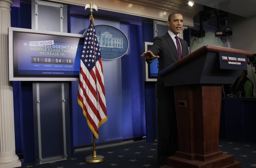 President Barack Obama speaks during the news briefing at the White House, Tuesday, Dec. 20, 2011, in Washington. (AP Photo/Carolyn Kaster)