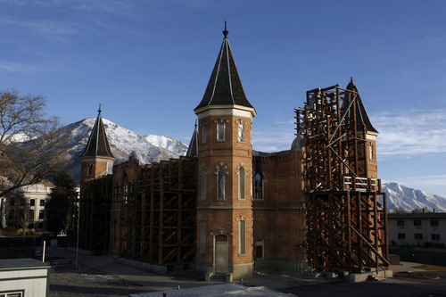 Francisco Kjolseth  |  The Salt Lake Tribune The long process of rebuilding the historic Provo Tabernacle continues as walls braced by scaffolding hold the reamaining shell after the fire that broke out a year ago Dec. 17, 2010.