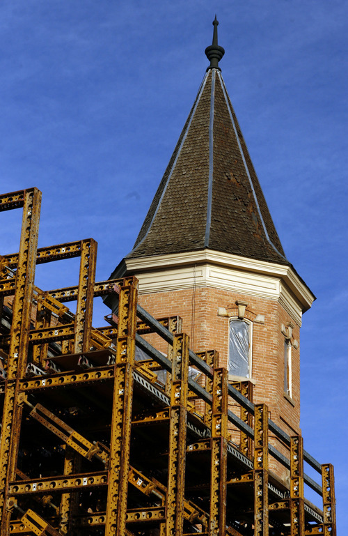 Francisco Kjolseth  |  The Salt Lake Tribune The long process of rebuilding the historic Provo Tabernacle continues as walls braced by scaffolding hold the remaining shell after the fire that broke out nearly one year ago Dec. 17, 2010.