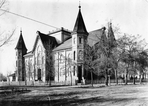photo courtesy the Provo Library  The Provo Tabernacle is seen in a historic photo from 1917.