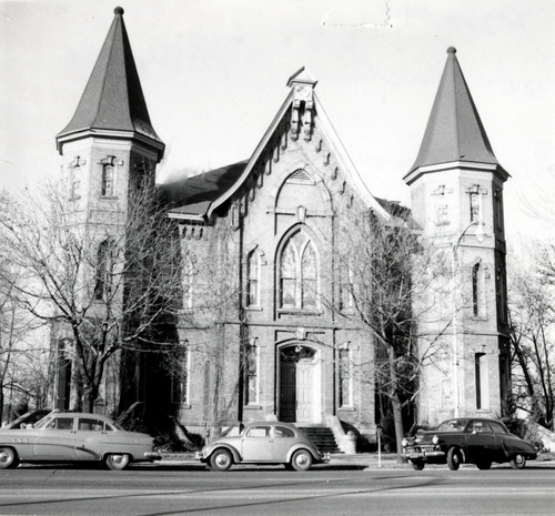 Many residents would like to see the Provo LDS Tabernacle, shown here in a 1958 photo, rebuilt after a fire gutted the building in 2010. Courtesy LDS Church