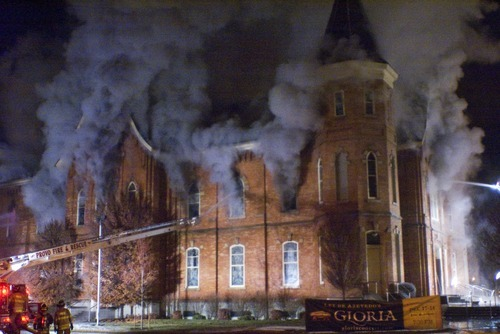 Donald W/ Meyers  |  The Salt Lake Tribune  The historic Provo Tabernacle burns in the early morning hours Friday December 17, 2010.