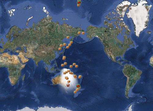 FILE - In this Dec. 24, 2010 file image provided by noradsanta.org, the official NORAD tracking of Santa Claus is shown on a satellite map of the world. NORAD Tracks Santa, the official name of the exercise, began in 1955 when a Colorado Springs newspaper ad invited kids to talk to Santa on a hotline. The phone number had a typo, and dozens of kids wound up dialing the Continental Aerospace Defense Command in Colorado Springs, the predecessor to NORAD. Volunteer Santa-trackers at NORAD are bracing for tens of thousands of calls and emails on Christmas Eve this year. (AP Photo/NORAD, via noradsanta.org)