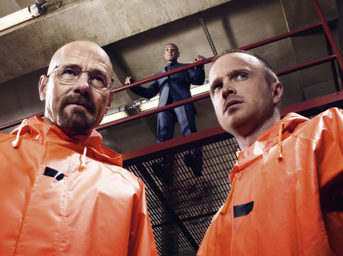 Walter White (Bryan Cranston), Gustavo Fring (Giancarlo Esposito) and Jesse Pinkman (Aaron Paul) in a scene from