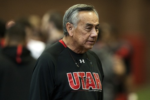 Chris Detrick  |  The Salt Lake Tribune Utah Ute offensive coordinator Norm Chow during a practice at the Spence Eccles Field House Tuesday December 20, 2011.