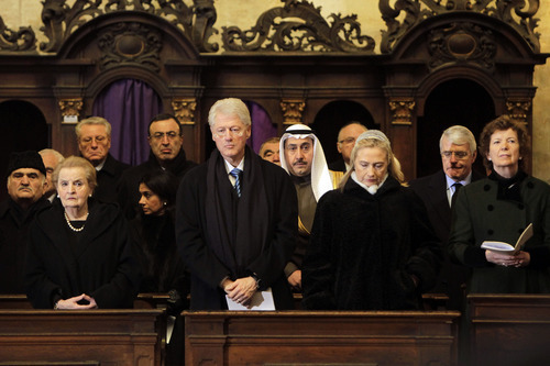 Former US Secretary of State Madeleine Albright, former US President Bill Clinton and US Secretary of State Hillary R. Clinton, from left, attend the state funeral of former Czech President Vaclav Havel in the St. Vitus Cathedral in Prague, Friday, Dec. 23, 2011. Havel was the leader of the peaceful anti-communist