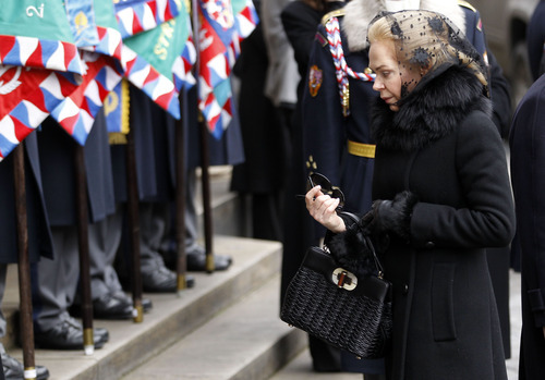 Dagmar Havlova arrives for the state funeral of her husband, former Czech President Vaclav Havel, in the St. Vitus Cathedral in Prague Friday, Dec. 23, 2011. Havel died Sunday, Dec. 18, at age 75. (AP Photo/Michael Sohn)