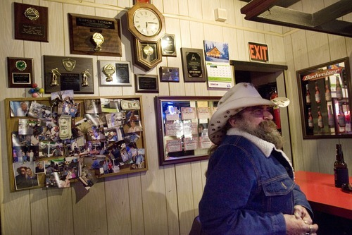 Kim Raff   The Salt Lake Tribune After finishing his shift as bartender, Larry Moyes sits down at the for a beer at Swedetown Pub in Salt Lake City.