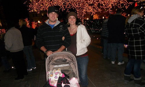 Jake Strickland and Whitney Pettersson at Temple Square last December. She gave birth a day later and placed the baby with adoptive parents. Courtesy Jake Strickland