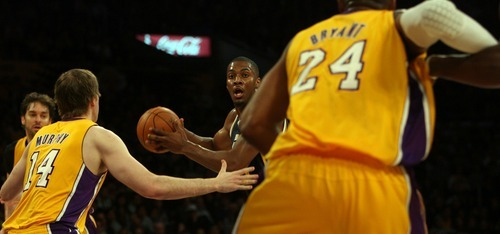 Steve Griffin  |  The Salt Lake Tribune  Utah's Derrick Favors looks for help during first half action in the Jazz Lakers game at the Staples Center in  in Los Angeles, CA Tuesday, December 27, 2011.