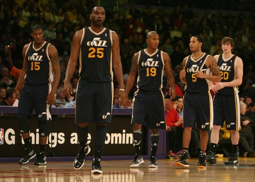 Steve Griffin  |  The Salt Lake Tribune  The Utah Jazz starters take the floor following a time out during first half action in the Jazz Lakers game at the Staples Center in  in Los Angeles, CA Tuesday, December 27, 2011.