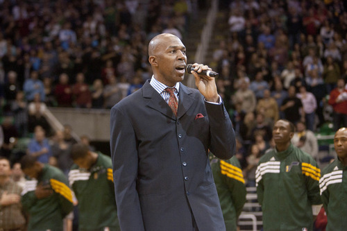 Jeremy Harmon  |  The Salt Lake Tribune  Thurl Bailey sings the national anthem before the Jazz face the 76ers at EnergySolutions Arena on Friday, December 30, 2011.