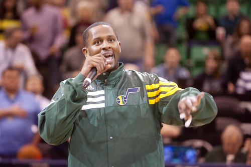 Jeremy Harmon  |  The Salt Lake Tribune  C.J. Miles welcomes fans to the home opener as the Jazz face the 76ers at EnergySolutions Arena on Friday, December 30, 2011.