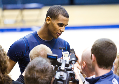 Brandon Davies talks to members of the media about his return to playing basketball for BYU at the Marriott Center, Tuesday, Nov. 8. Davies' dismissal from the team for honor code violations last spring rocked the program.