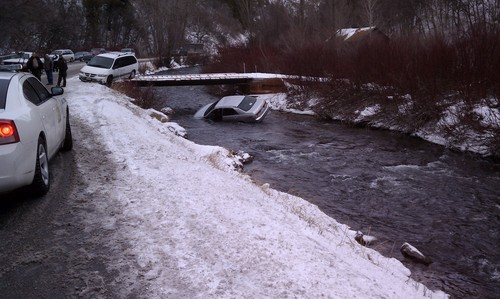 Car Crash in Logan Canyon, Utah. December 31, 2011. Courtesy KUTV
