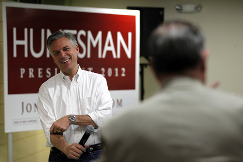 Republican presidential candidate former Utah Gov. Jon Huntsman listens to audience members question during an event at McConnell Community Center, Monday, Jan. 2, 2012, in Dover, N.H. (AP Photo/Matt Rourke)