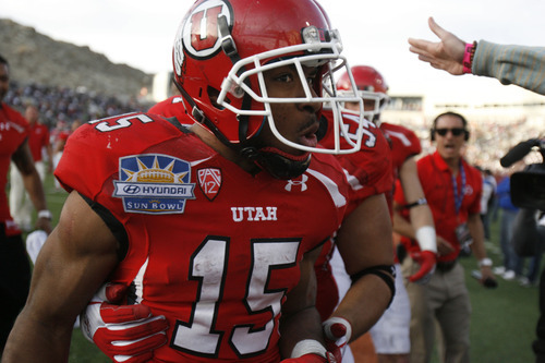 Trent Nelson  |  The Salt Lake Tribune John White celebrates his game-winning touchdown as the University of Utah defeats Georgia Tech, college football at the Sun Bowl in El Paso, Texas, Saturday, December 31, 2011.