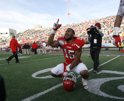 Trent Nelson  |  The Salt Lake Tribune Utah's John White celebrates his game-winning touchdown in overtime as the University of Utah faces Georgia Tech, college football at the Sun Bowl in El Paso, Texas, Saturday, December 31, 2011.