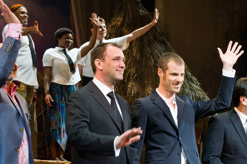 Charles Sykes  |  The Associated Press Trey Parker, left, and Matt Stone appear at the curtain call for the opening night performance of their Broadway musical