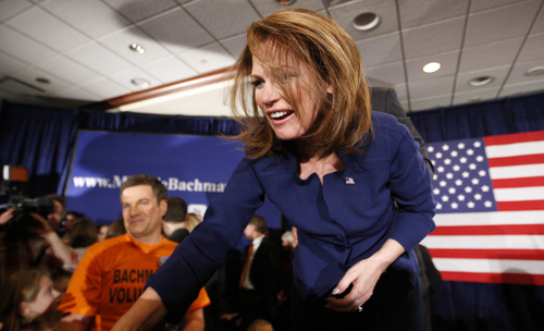 Rep. Michelle Bachmann, R-Minn., greets her supporters after speaking at her caucus party at the Marriott in West Des Moines after finishing sixth in the Iowa Caucuses Tuesday night Jan. 3, 2012. (AP Photo/Justin Hayworth,The Des Moines Register)