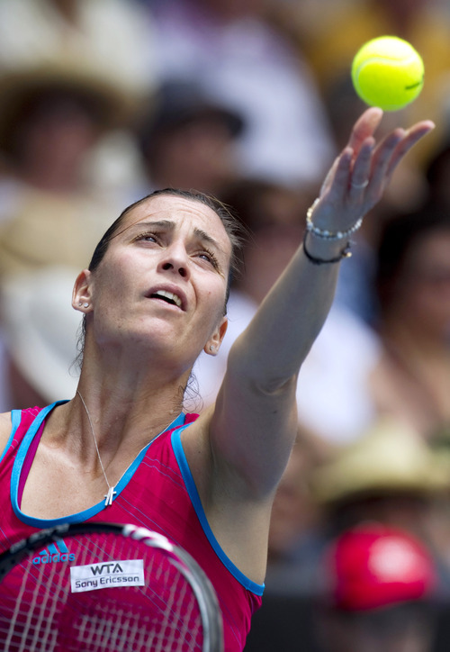 Flavia Pennetta of Italy prepares for a serve in her quarterfinal match against Elena Vesnina of Russia at the ASB Classic women's tennis tournament in Auckland, New Zealand, Thursday, Jan. 5, 2012. Pennetta beat Vesnina 6-2, 6-1. (AP Photo/SNPA, David Rowland) NEW ZEALAND OUT