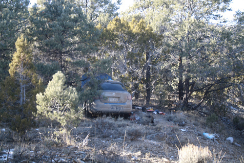 The VW Jetta that Angela Atwood, 25, and Logan McFarland, 24, allegedly used after their deadly crime spree was found in a rural Oasis area of Elko County in Nevada. Photo courtesy Elko County Sheriff's Office