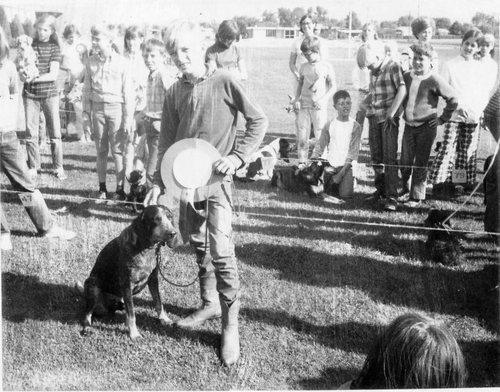 Courtesy   Mount Jordan Memory Project A Mount Jordan seventh-grader participates in a school dog show during the 1970-71 school year.