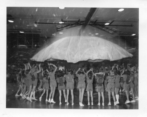Courtesy   Mount Jordan Memory Project Mount Jordan seventh-grade girls perform with a parachute during the 1971-72 school year.