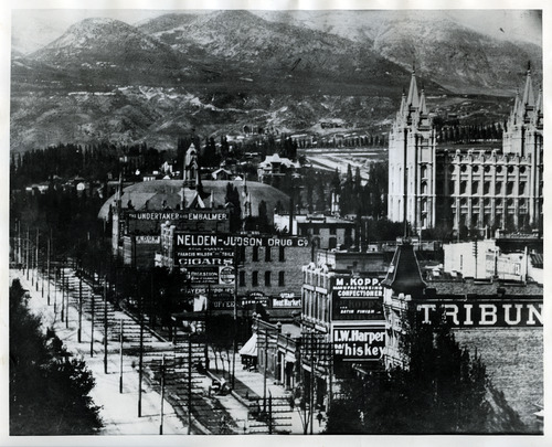 Tribune file photo  A view looking north along West Temple is seen in the 1880s.