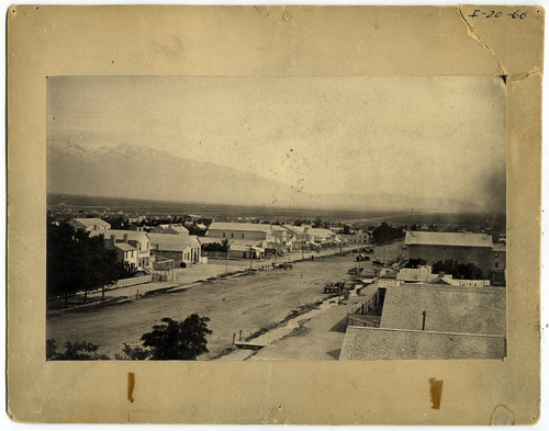 Tribune file photo  A view looking south on Main Street from approximately 100 South in the mid 1860s.