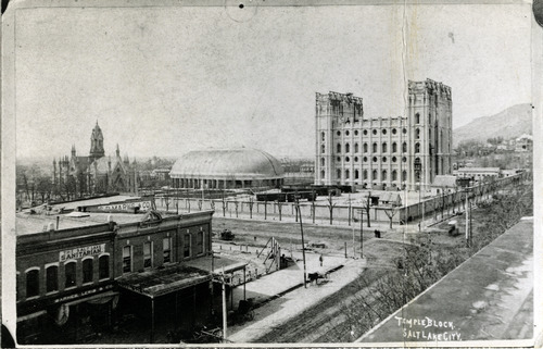 Tribune file photo  A view of the Salt Lake Temple is seen while it is still under construction. The temple was dedicated on April 6, 1893.