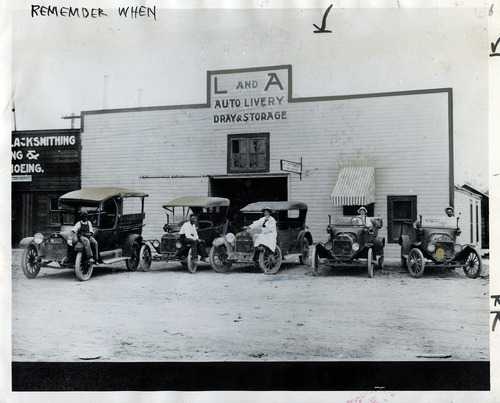 Tribune file photo  This photo from 1907 shows the L and A Auto Livery in Salt Lake City.