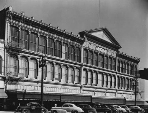 The facade from downtown's ZCMI store. Started by Brigham Young as Zions Cooperative Mercantile Institution, ZCMI was a cooperative that brought together Mormon merchants. This photo is from 1949.  Photo courtesy of Utah State Historical Society.