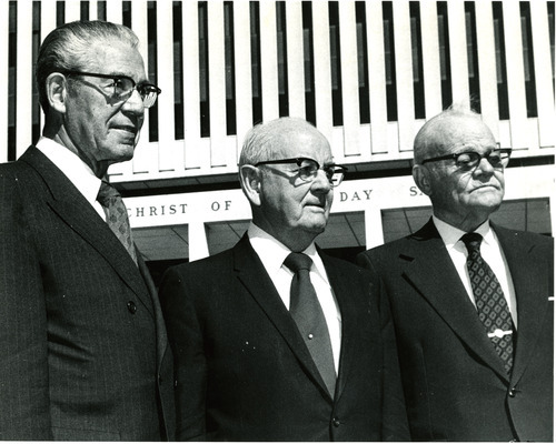 The LDS Church First Presidency of N. Eldon Tanner, first counselor; Spencer W. Kimball, president; and Marion G. Romney, second counselor. Romney was seen as an expert in Mormonism's welfare system.