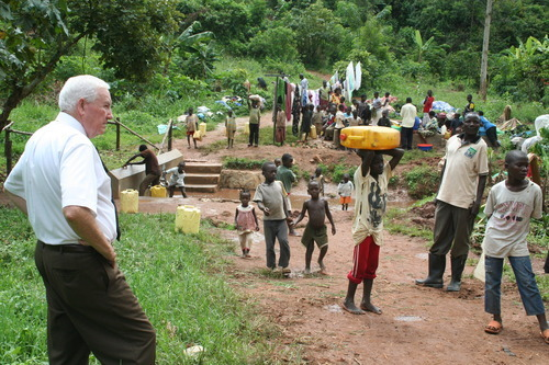 Jeremiah Stettler  |  The Salt Lake Tribune Within the tropical forests of southern Uganda, Lincoln Barlow looks over a community wash basin that he and his wife helped build as part of a $250,000 humanitarian effort by the LDS Church to bring cleaner water and better sanitation to Africa.