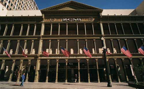 The facade from downtown's ZCMI store. Started by Brigham Young as Zions Cooperative Mercantile Institution, ZCMI was a cooperative that brought together Mormon merchants. This photo is from 1999 after ZCMI was sold to the May Co.