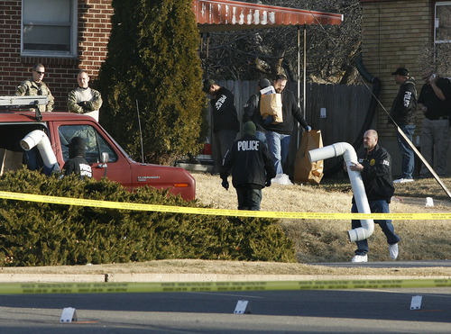 Scott Sommerdorf  |  The Salt Lake Tribune              Police bring out various pieces of evidence from the home at 3268 Jackson St. in Ogden, Thursday, January 5, 2012. Five police officers were injured and one killed in a firefight during a drug raid Wednesday night.