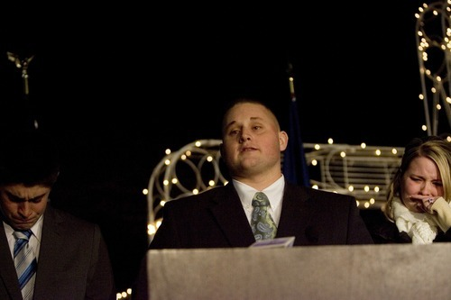 Kim Raff | The Salt Lake Tribune Travis Francom makes a statement about his slain brother Agent Jared Francom, who was killed, and the five other officers who were wounded in a gun battle with a suspect the night before, at the Ogden Amphitheater in Ogden on Thursday, Jan. 5, 2012.