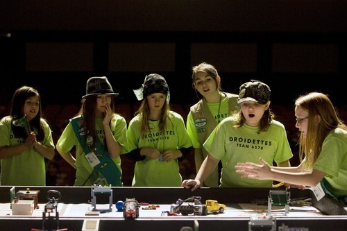Kim Raff I The Salt Lake Tribune Droidettes, a team organized by the Girl Scouts of Utah, compete during the Utah FIRST LEGO League competition at Murray High School on Saturday.
