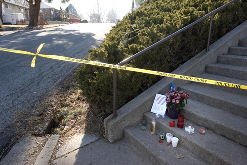 Paul Fraughton   The Salt Lake Tribune. A message left on the steps leading to an LDS ward house across the street from the Ogden home where six police officers were shot, one fatally, on Wednesday night.